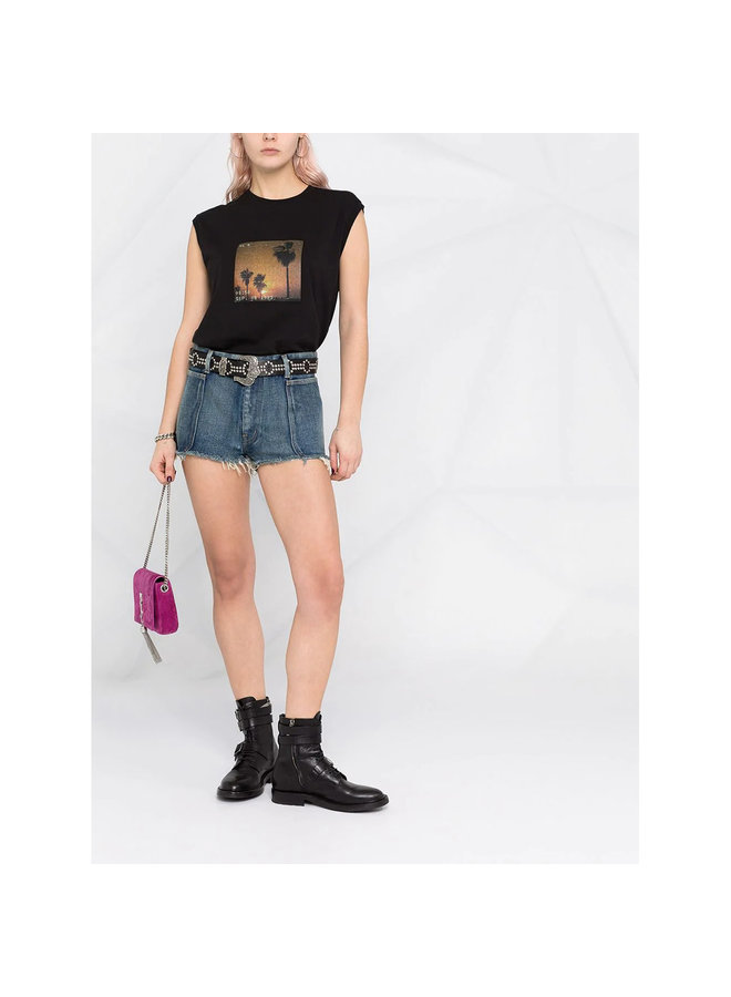 Sleeveless T-shirt with Sunset Print in Black