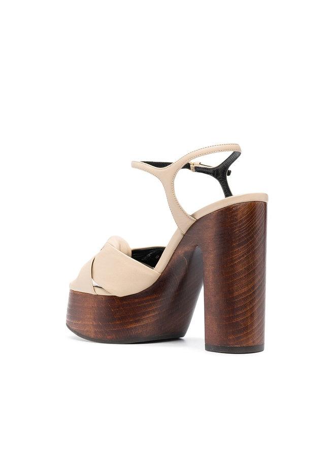 Bianca High Heel Platform Sandals in Leather in Cream