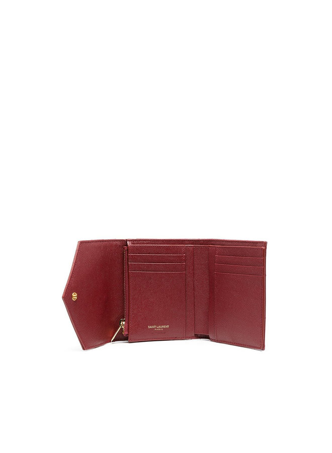 Monogram Flap Wallet in Leather in Red