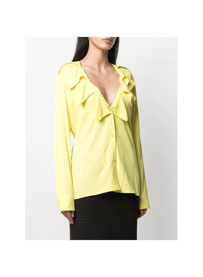 Long Sleeve Ruffle Blouse in Stretch Viscose in Limoncello