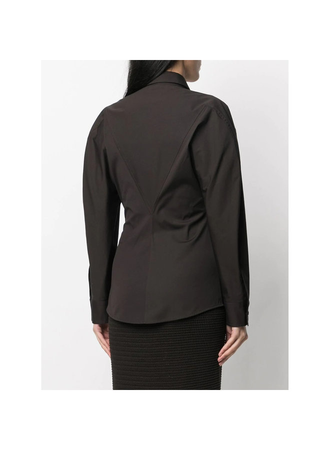 Long Sleeve Shirt in Cotton in Fondente