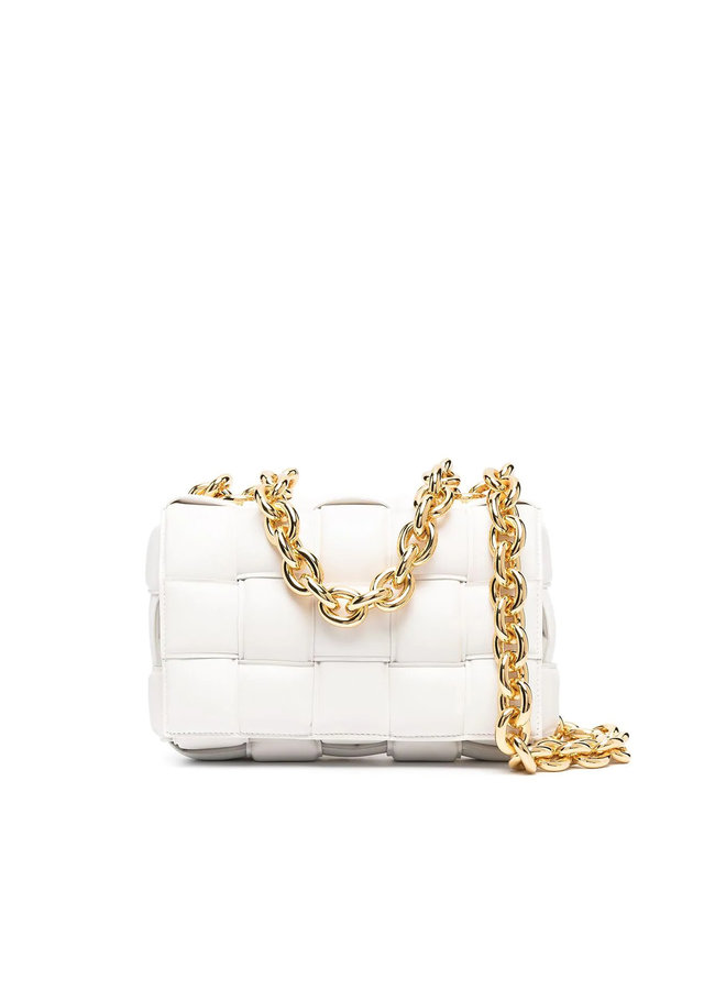 Cassette Chain Padded Shoulder Bag in Leather in Chalk