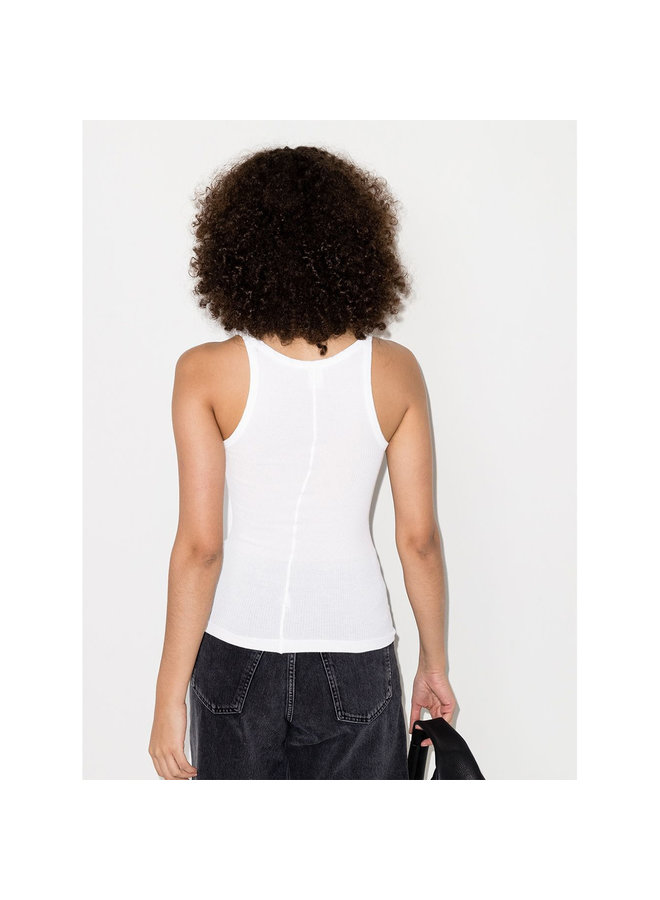 Ribbed Tank Top in Cotton in Optic White