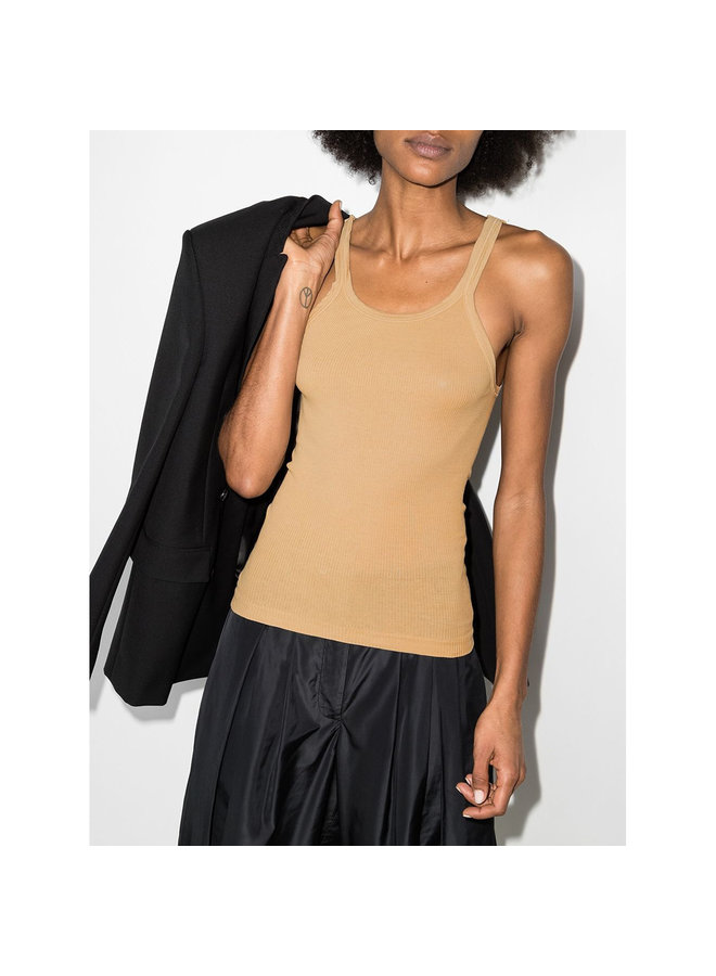 Ribbed Tank Top in Cotton in Sand