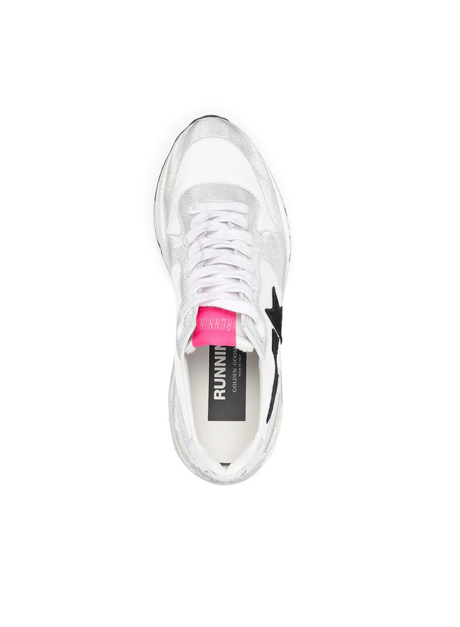Low Top Running Sneakers in White/Silver