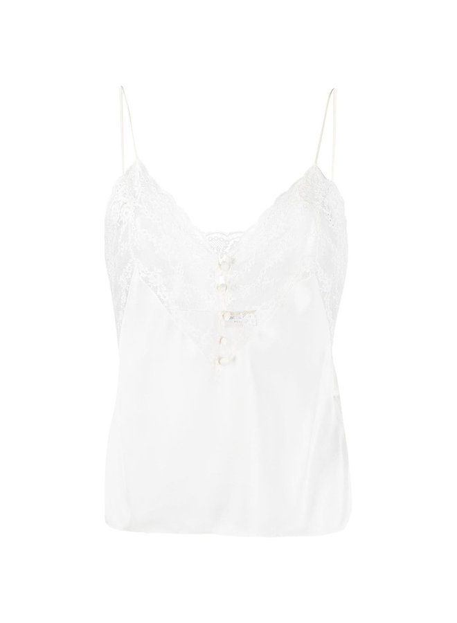Lace Trim Blouse in Silk in Off White