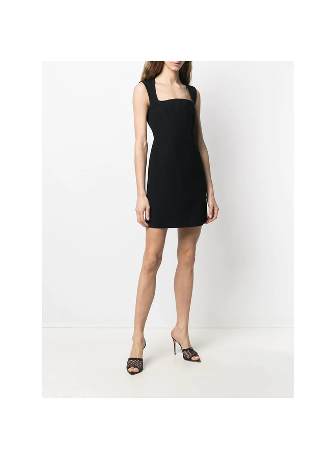 Fitted Mini Dress with Square Neckline in Black