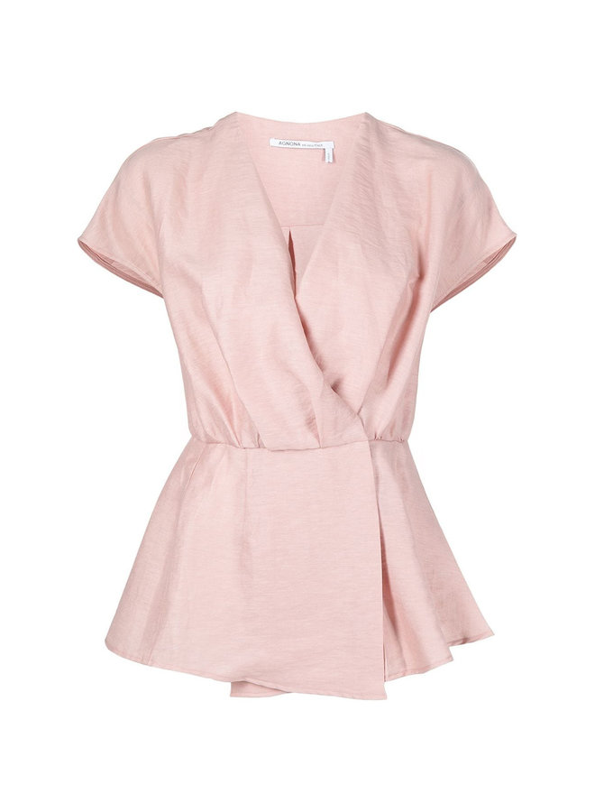 V-neck Peplum Blouse in Linen in Faded Rose