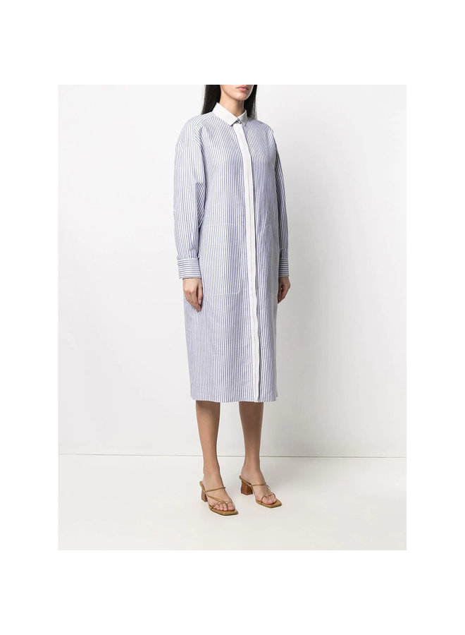 Long Stripped Shirt Dress in Cotton Linen in Blue