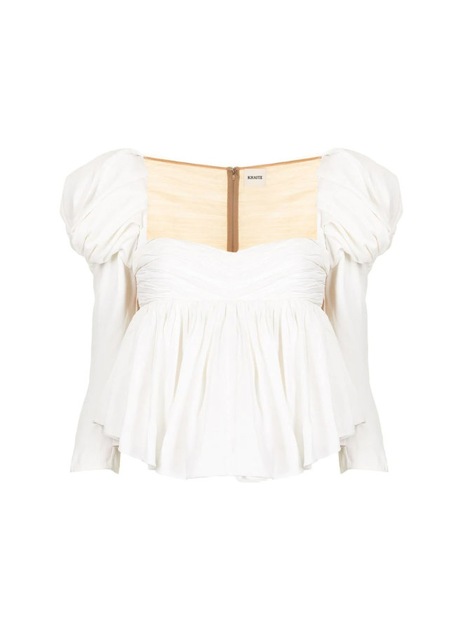 Kim Peplum Blouse in Satin in Ivory