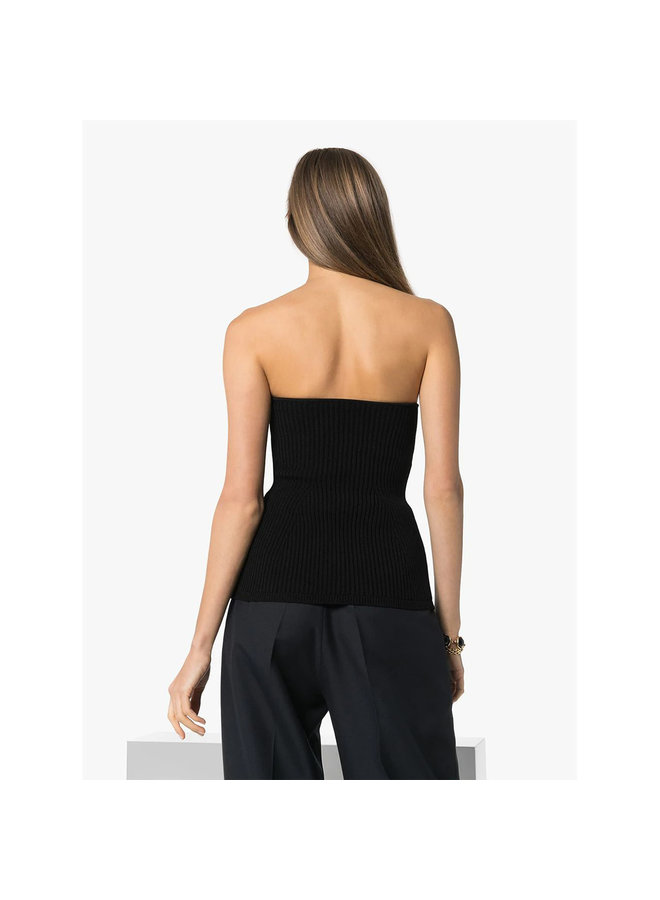Lucie Ribbed Knit Bustier in Black