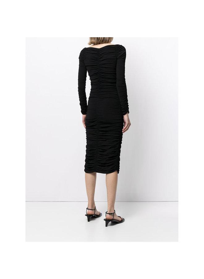 Midi Shirred Dress in Black