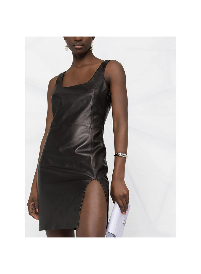 Mini Backless Dress in Leather in Black