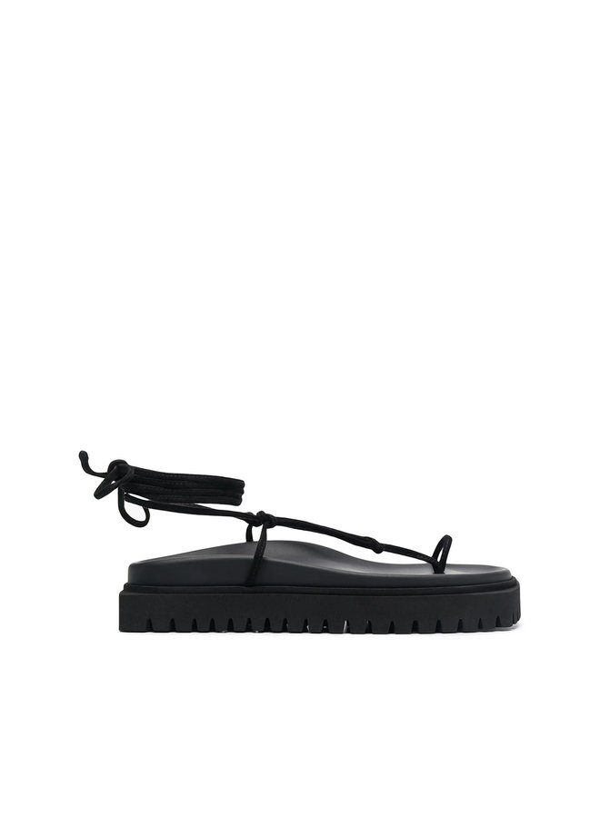 Lace Up Flat Sandals in Black
