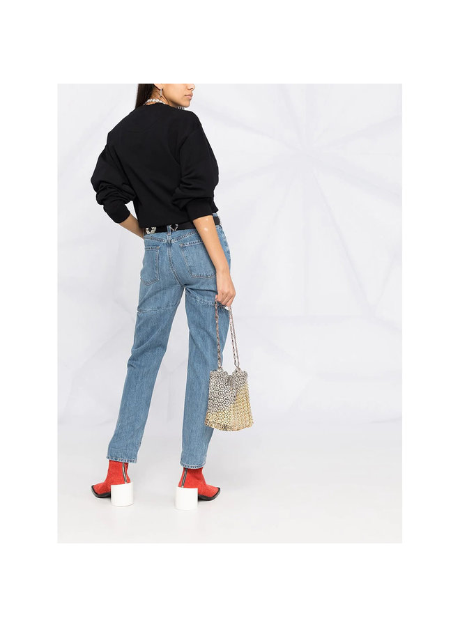 Mid Rise Straight Leg Ripped Jeans in Stone wash Blue