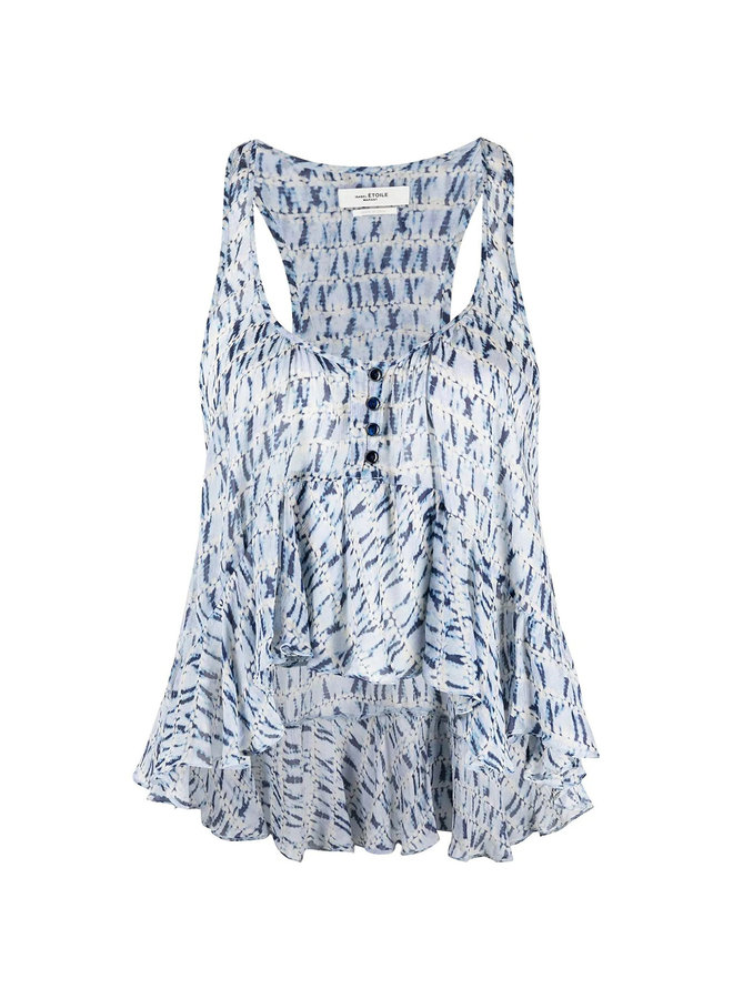 Printed Sleeveless Blouse in Blue
