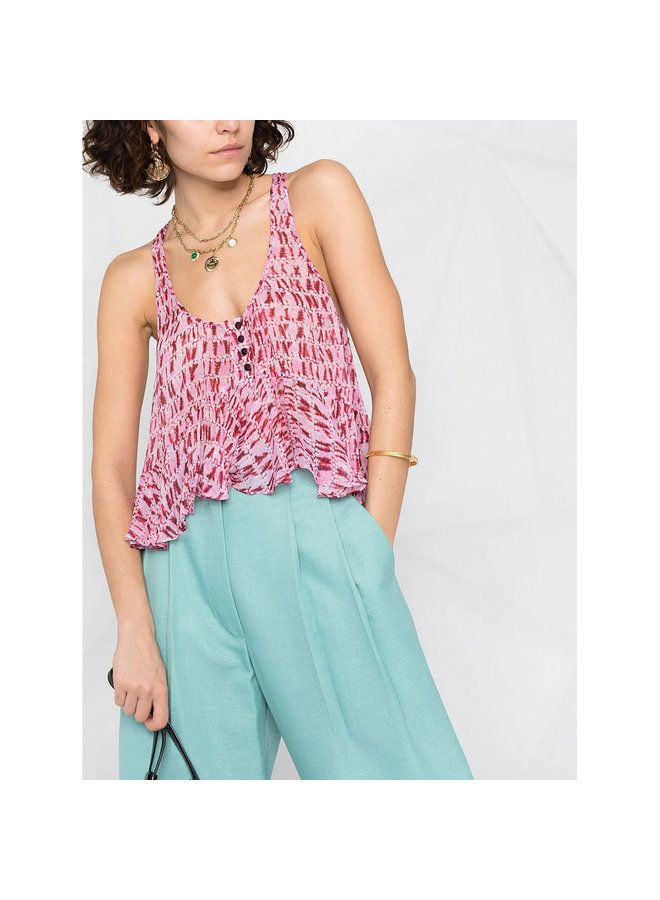 Printed Sleeveless Blouse in Red