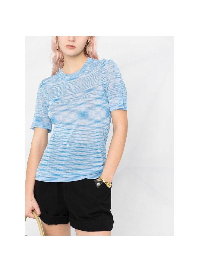 Crew Neck Sheer T-shirt in Light Blue