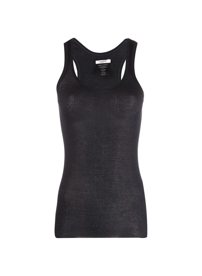 Ribbed Tank Top in Cotton in Black