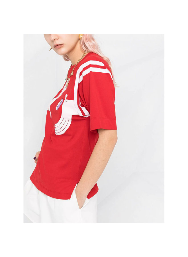 Printed T-Shirt in Organic Cotton in Red