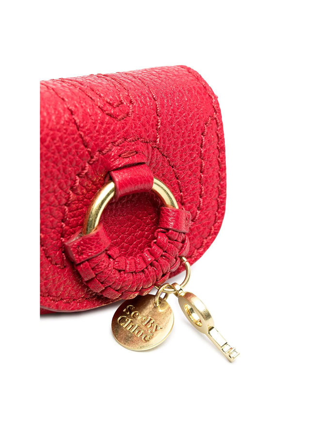 Hana Mini Chain Bag Charm in Leather in Red