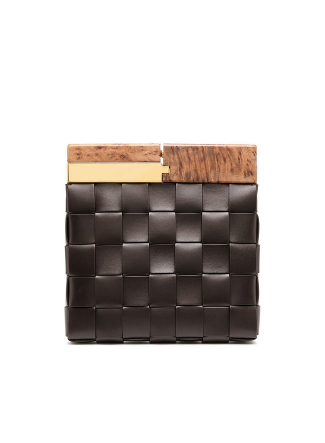 The Snap Clutch Bag in Intrecciato Leather in Fondente