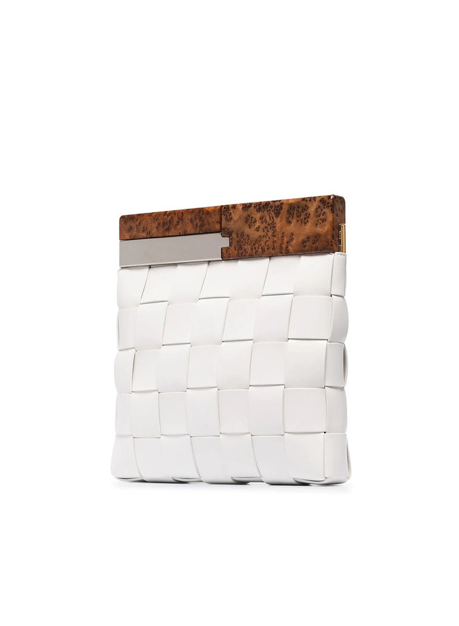 The Snap Clutch Bag in Intrecciato Leather in White