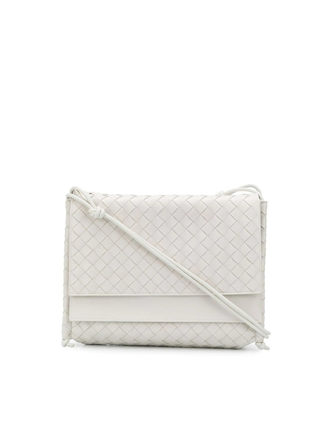 The Fold Medium Shoulder Bags in Intrecciato Leather in White