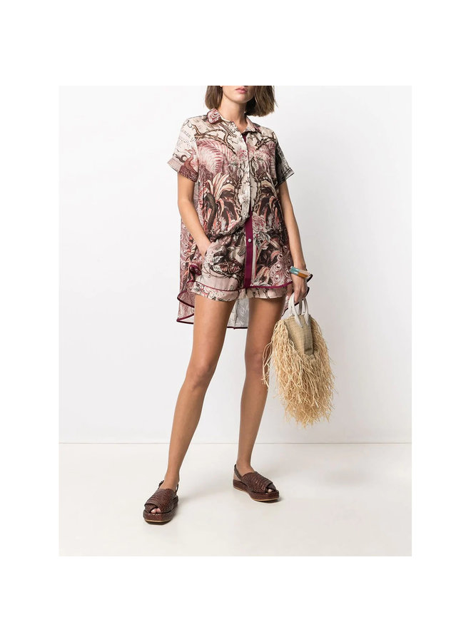 Shirt and Short  Set in Cotton Silk Palm Tree Print in Pink
