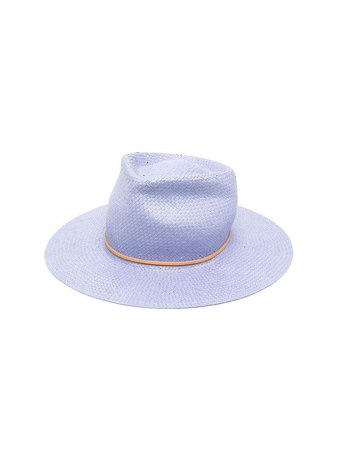Interwoven Straw Fedora Hat in Cielo