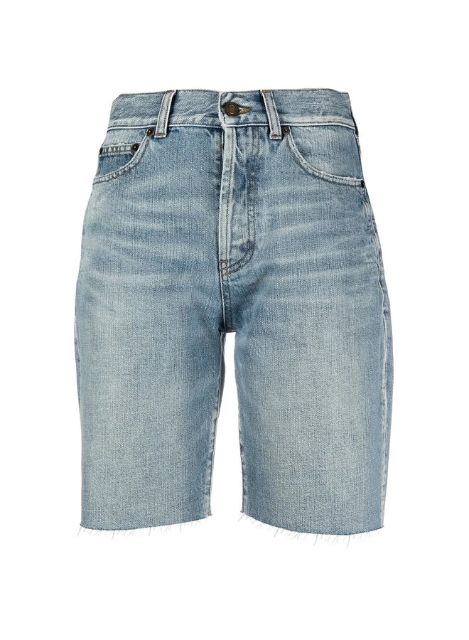 High Waisted Denim Cycling Shorts in Blue