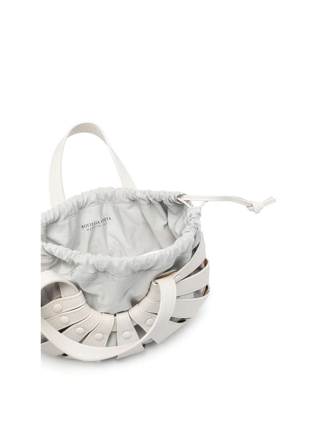 The Shell Mini Crossbody Bag in Leather in White
