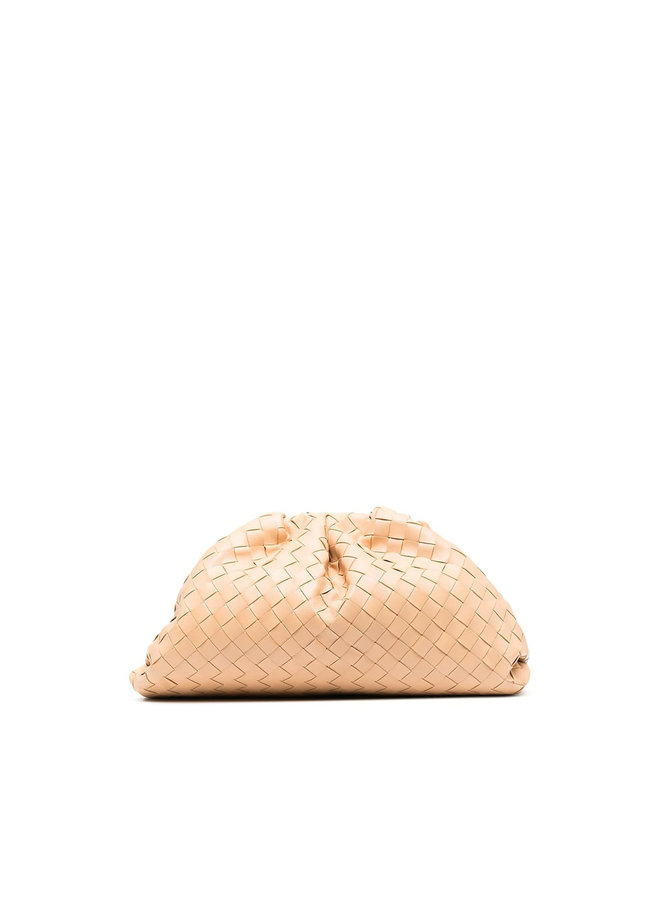 The Pouch Large Clutch Bag in Intrecciato Leather in Almond