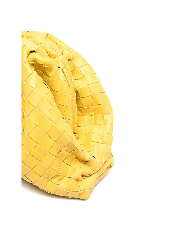 The Pouch Large Clutch Bag in Intrecciato Leather in Buttercup