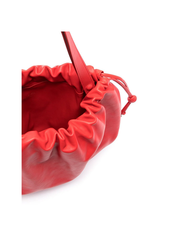 Top Handle Pouch Bag in Leather in Chili