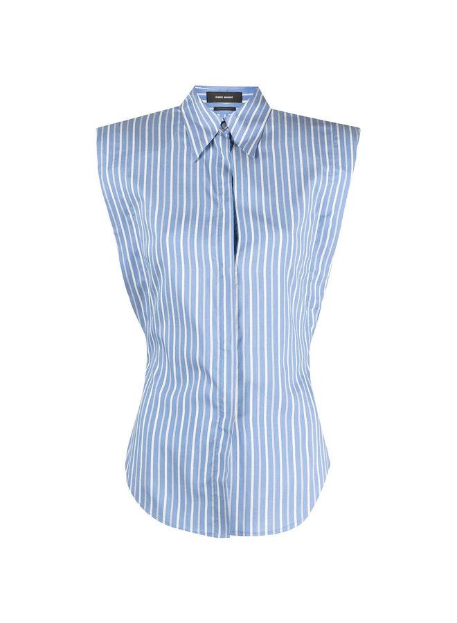Striped Sleeveless Shirt in Silk in Blue