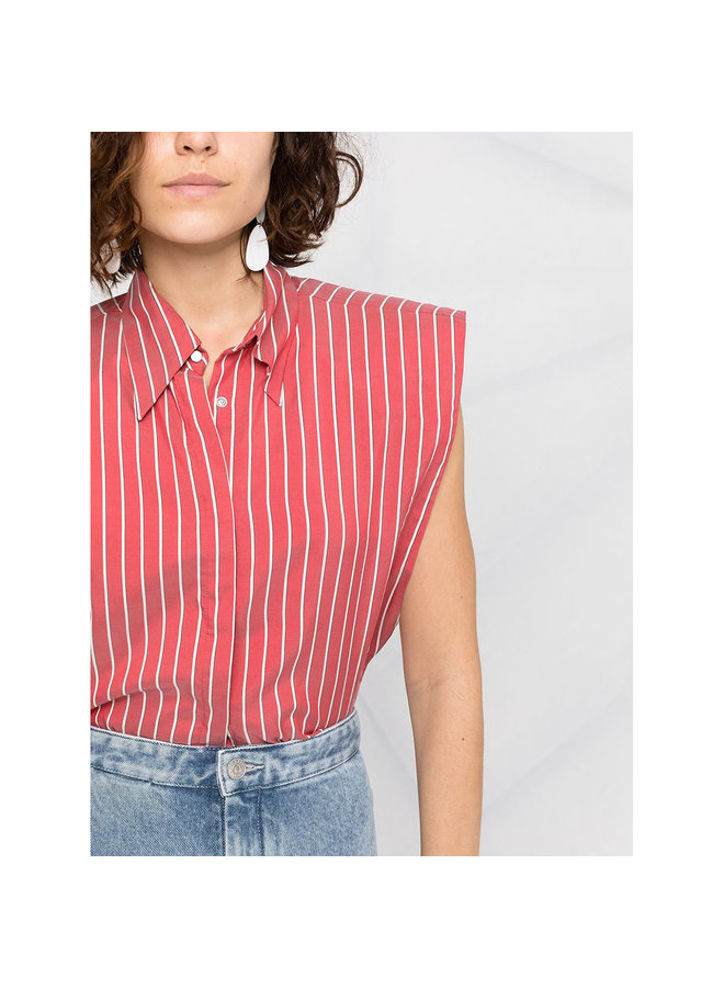 Striped Sleeveless Shirt in Silk in Red