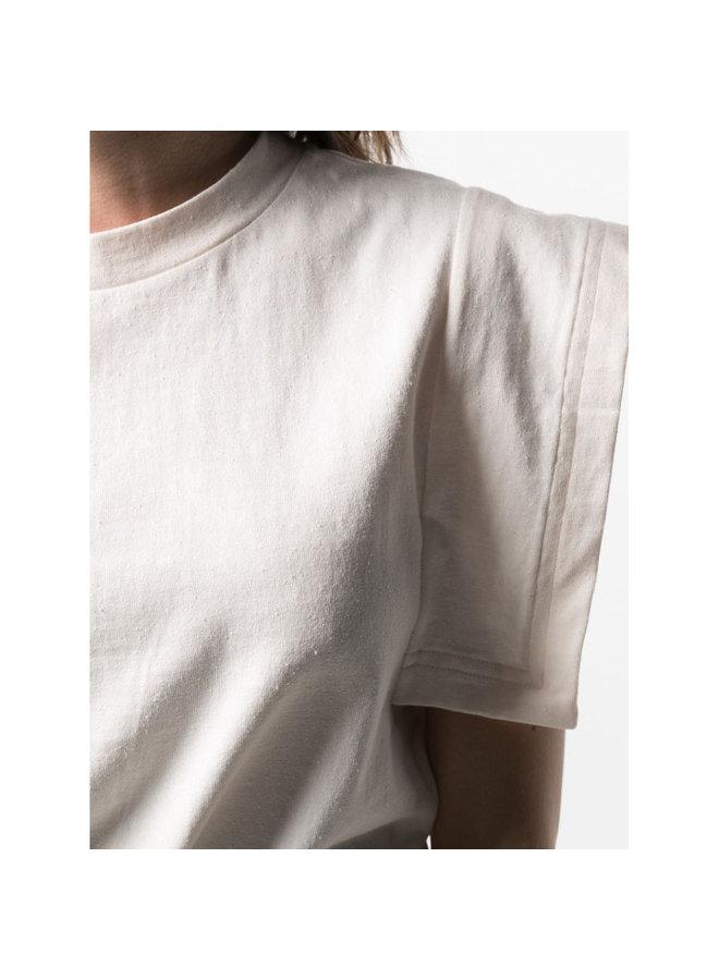 Square Sleeve T-shirt in Cotton in Ecru