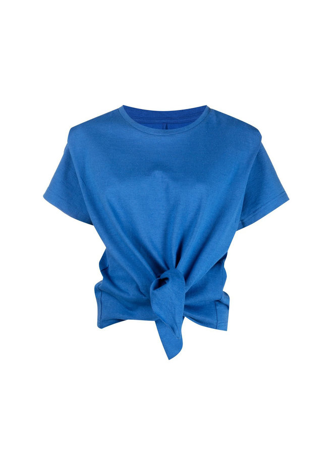 Tie-Front T-shirt in Cotton
