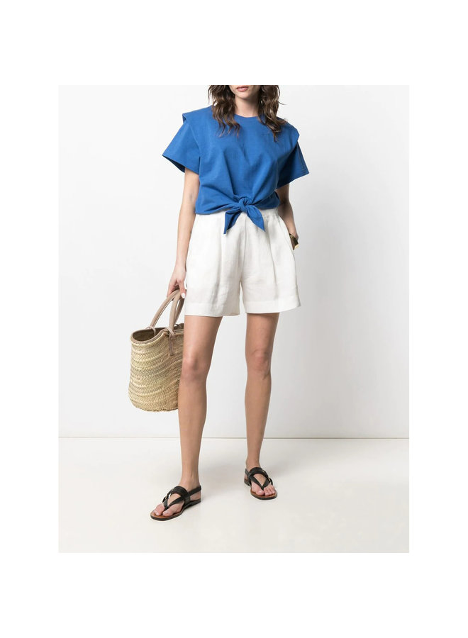 Tie-Front T-shirt in Cotton in Blue