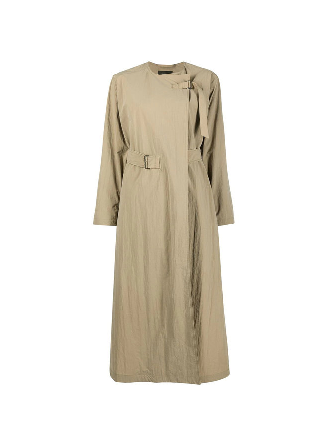Oversized Belted Trench Coat in Beige