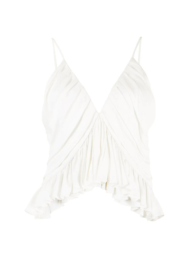 Draped Cropped Blouse in Ivory