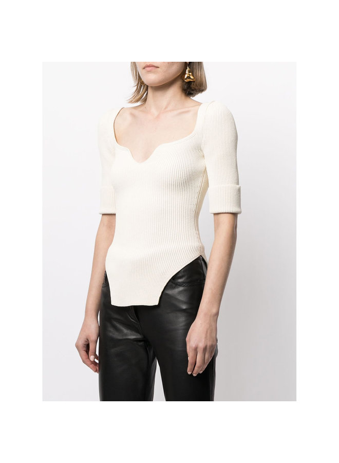Short Sleeve Blouse in Ribbed Knit in Ivory