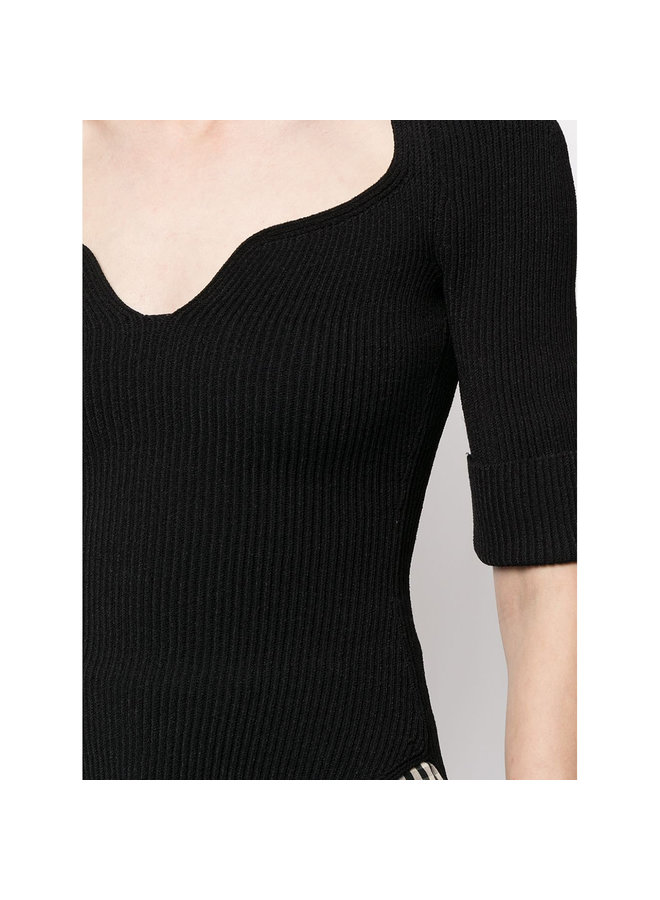 Short Sleeve Blouse in Ribbed Knit in Black