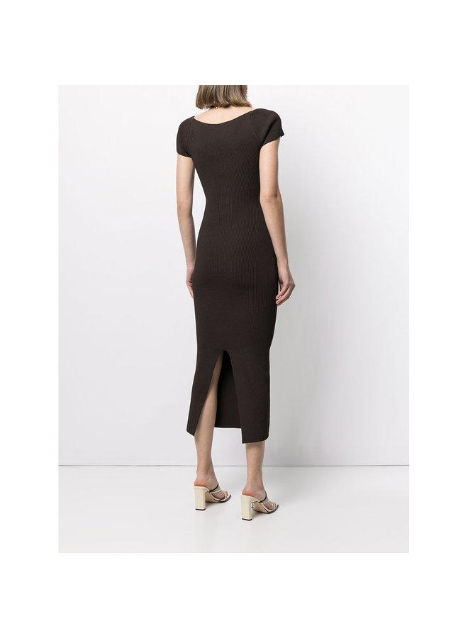 Midi Dress in Ribbed Knit in Chestnut