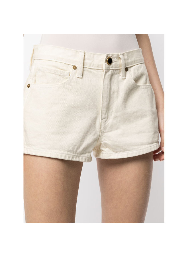 Low Rise Denim Shorts in Cotton in Ivory