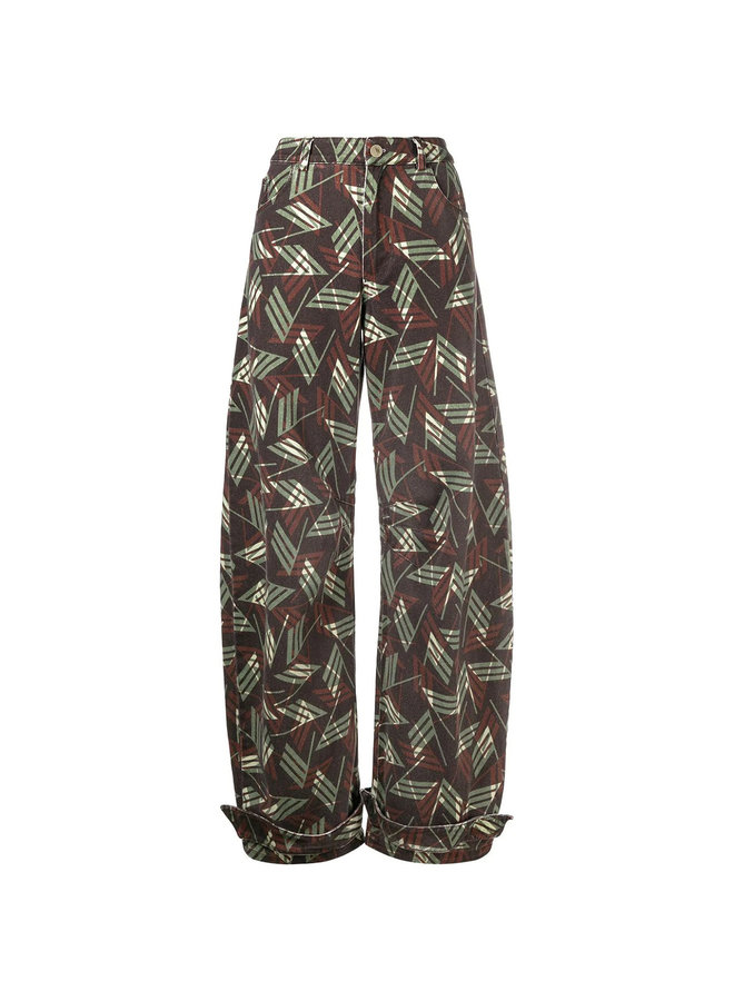 Straight Leg Printed Logo Trousers