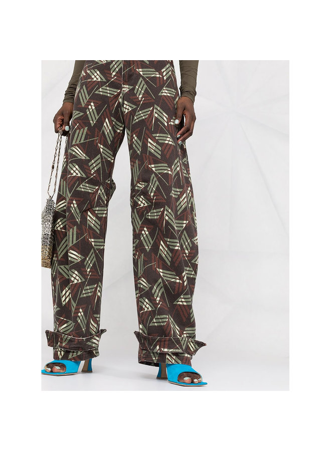 Straight Leg Printed Logo Trousers in Cotton in Black Army Brown