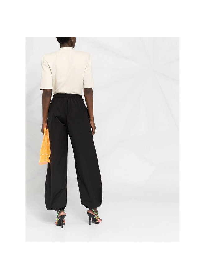High Waisted Casual Pants in Cotton in Black