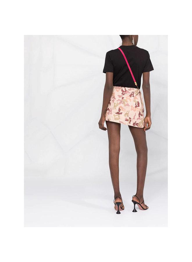 Mini Skirt in Camouflage Print in Beige